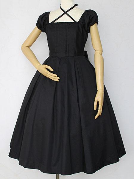 Milanoo Classic Lolita OP Dress Cross Bow Pleated Lolita One Piece Dress