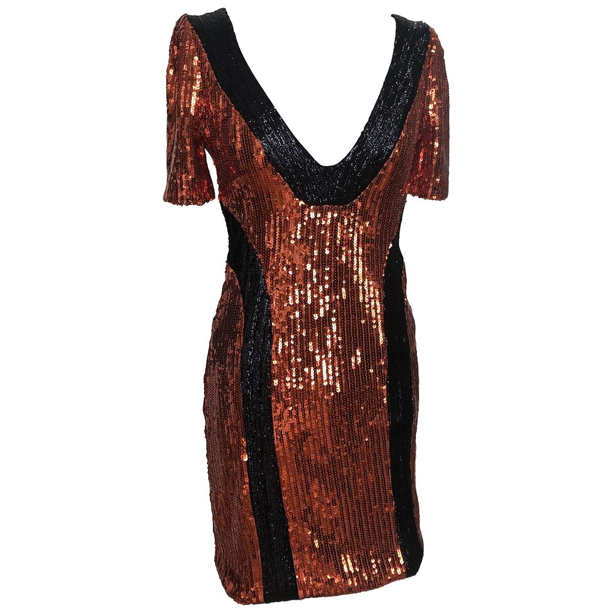 Galvan London \N Kleid in  Orange Mit Pailletten