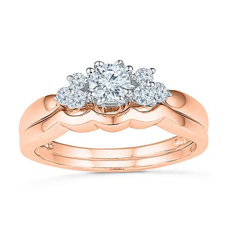 Womens 3/8 CT. T.W. Genuine White Diamond 10K Rose Gold Bridal Set, 4 , No Color Family