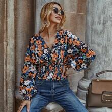 Camisa de cintura con fruncido floral