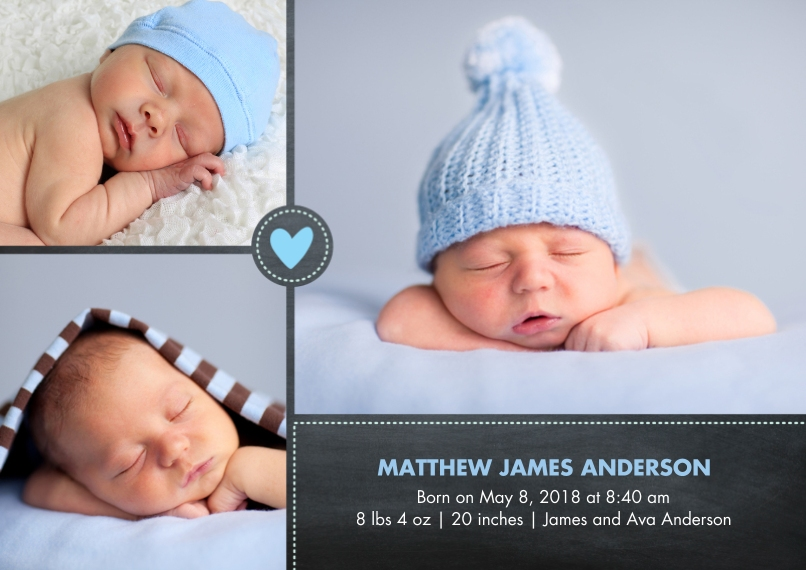 Baby Boy Announcements 5x7 Cards, Premium Cardstock 120lb with Rounded Corners, Card & Stationery -Baby Heart Blue
