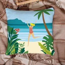 Seaside Print Cushion Cover Without Filler