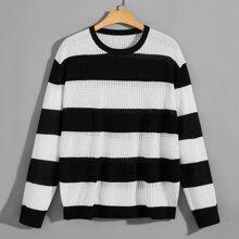 Men Two Tone Striped Pointelle Knit Top