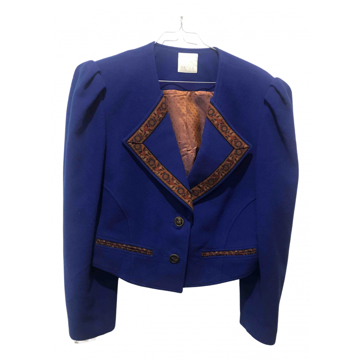 Non Signé / Unsigned N Blue Wool jacket for Women 40 FR
