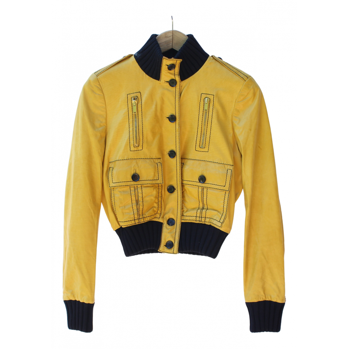 Gucci \N Yellow Leather Leather jacket for Women 40 IT