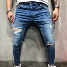 Men Ripped Washed Skinny Jeans