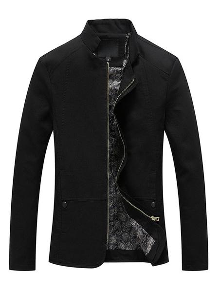 Milanoo Men's Black Jacket Long Sleeve Stand Collar Slim Fit Lightweight Jacket