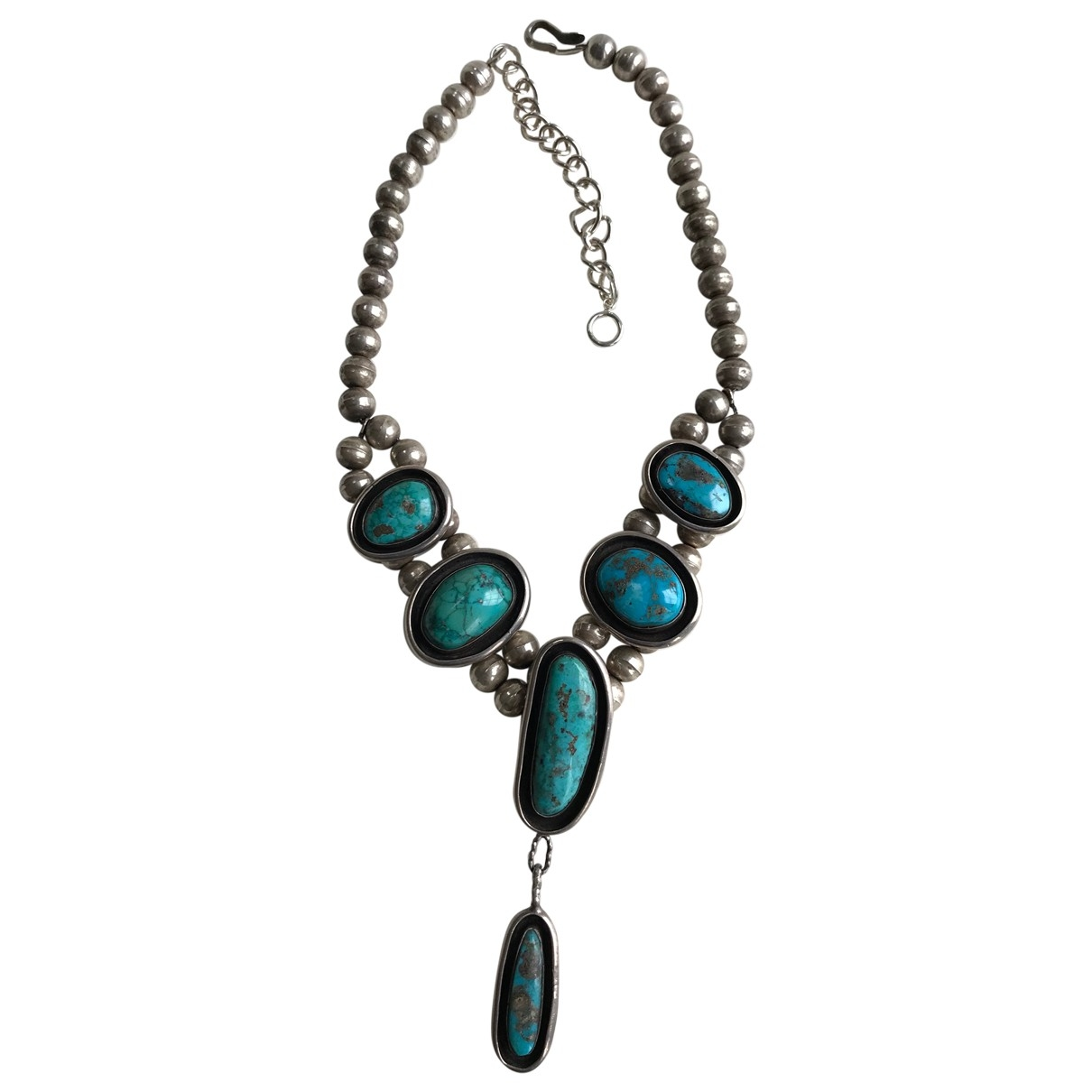 Non Signé / Unsigned Turquoises Blue Silver necklace for Women \N