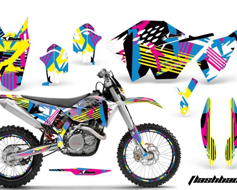 AMR Racing Graphics MX-NP-KTM-C5-07-11-FB Kit Decal Wrap + # Plates For KTM SX/XCR-W/EXC/XC/XC-W/XCF-W 2007-2011áFLASHBACK