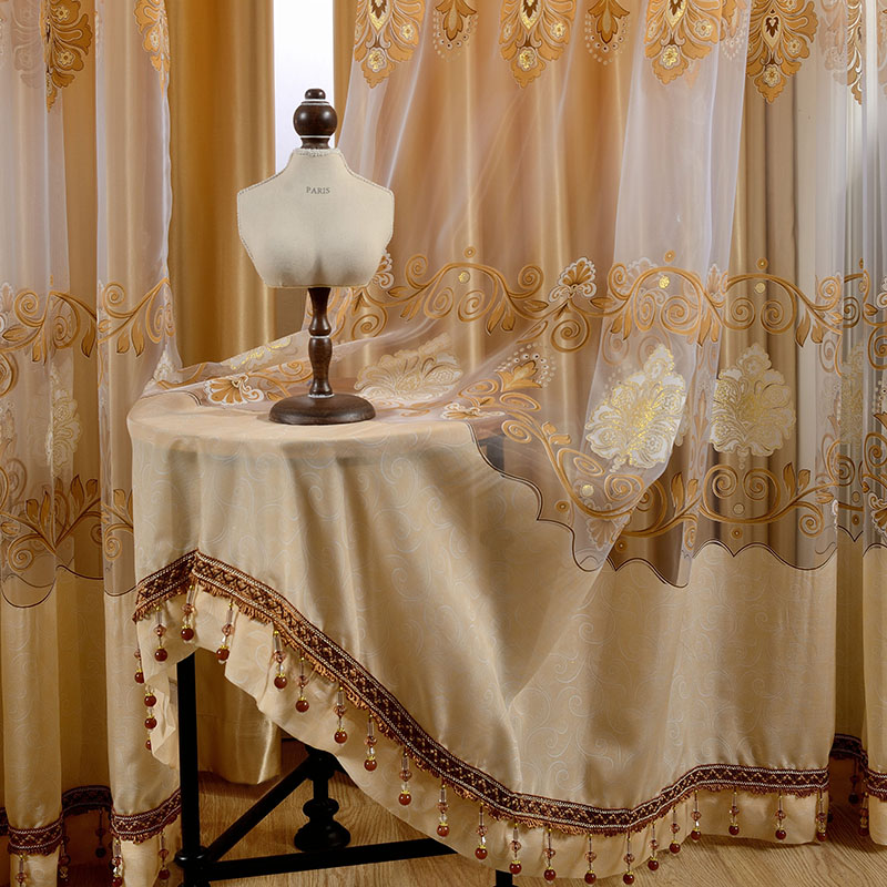 Light Orange Grommet Drapes Embroidery Jacquard Curtain 2 Panels Sheer
