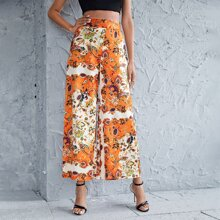 Floral And Paisley Print Wide Leg Pants