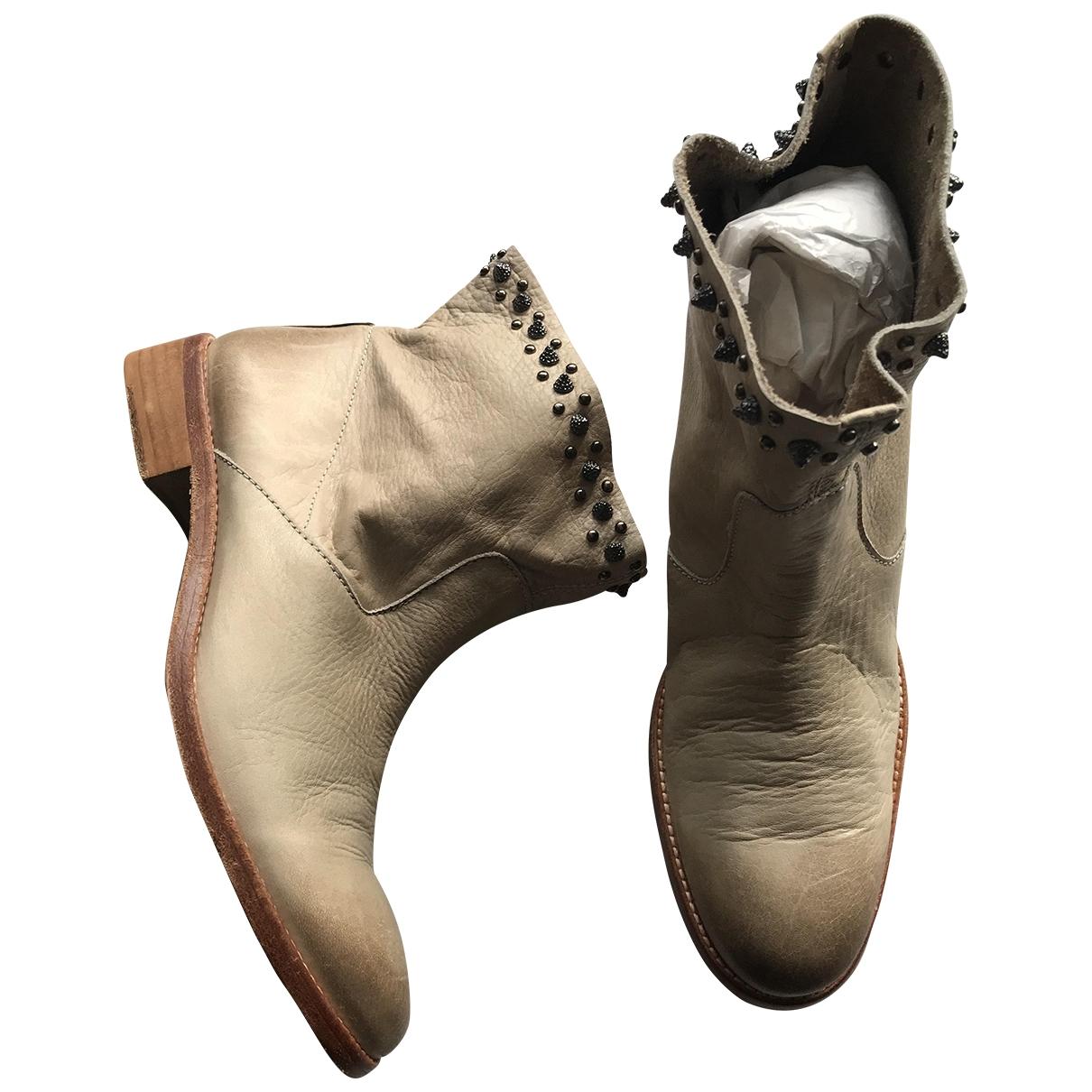 Zadig & Voltaire - Boots   pour femme en cuir - beige