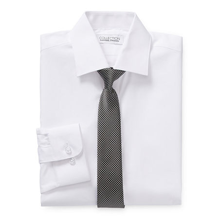 Collection By Michael Strahan Boys Spread Collar Long Sleeve Shirt + Tie Set, 18 Husky , White