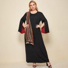 Vestido tunico con fleco tribal en contraste