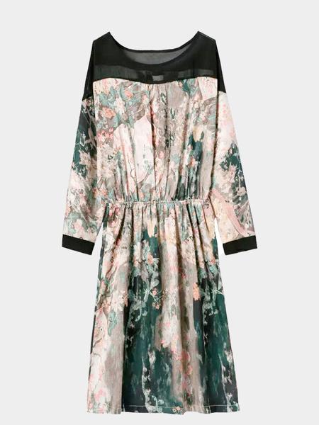 Yoins Mesh Insert Abstract print Back Cut Out Printing Dress