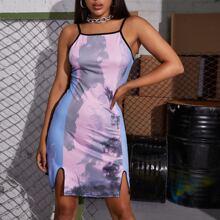 Kleid mit M-Schlitz und Batik