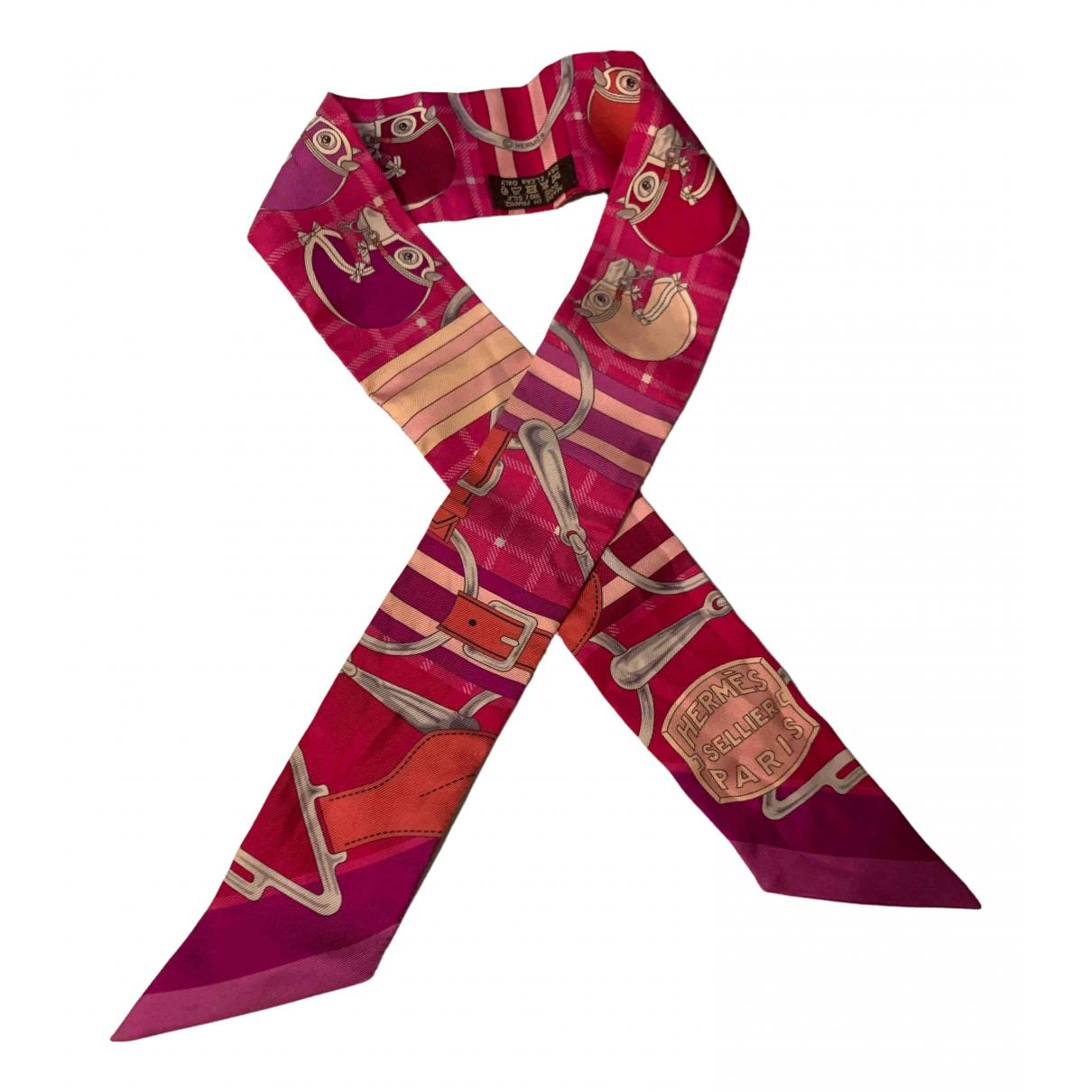 Hermes - Foulard Twilly 86 pour femme en soie - rose