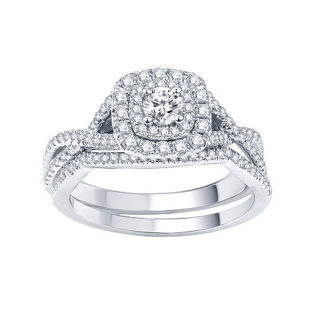Modern Bride Signature 3/4 CT. T.W. Certified White & Color-Enhanced Blue Diamond Ring Set, 9 , No Color Family