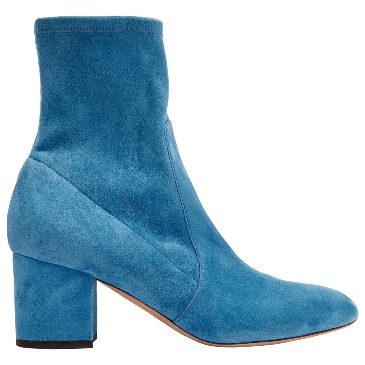 Valentino Garavani \N Blue Suede Ankle boots for Women 39 EU