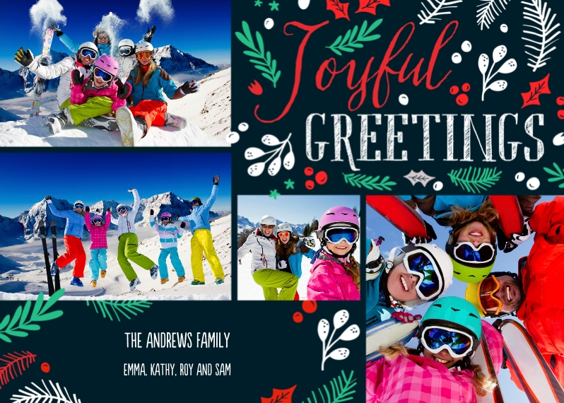 Holiday Photo Cards 5x7 Cards, Premium Cardstock 120lb with Scalloped Corners, Card & Stationery -Joy & Holly