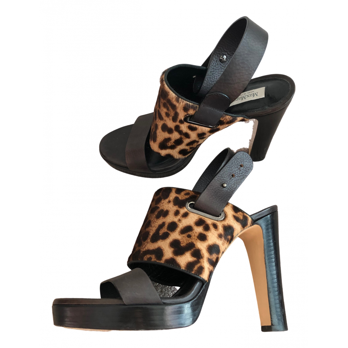 Max Mara \N Black Leather Sandals for Women 39 EU