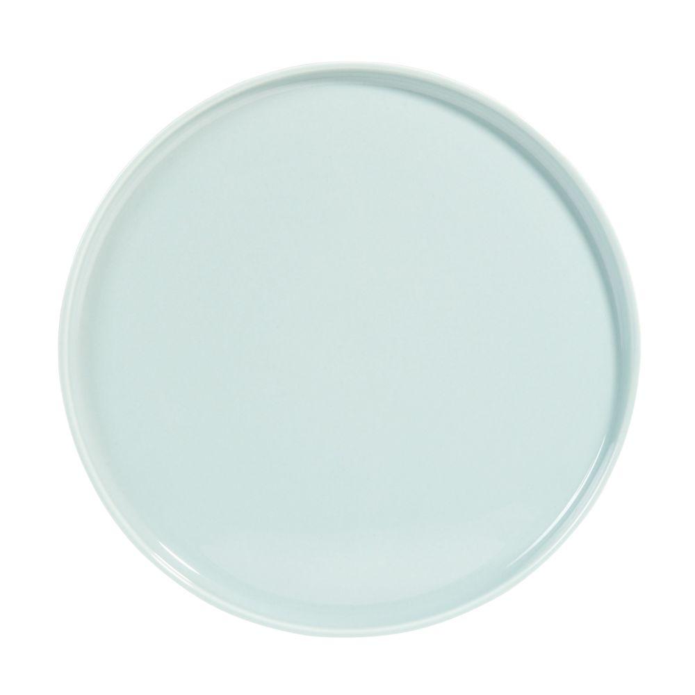 Flacher Teller aus Keramik, blau