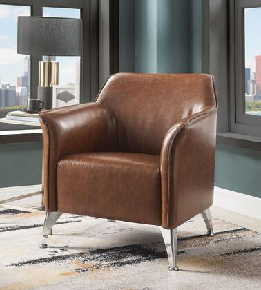 Teague Collection 59521 Accent Chair  Material PU  Tight Back & Seat Cushions  Seat Full Foam  Armrest Sloped  Metal Leg  in Brown