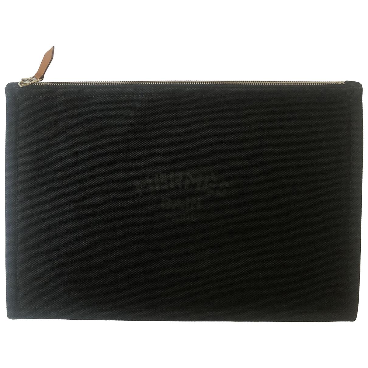 Hermes - Pochette   pour femme en coton - noir