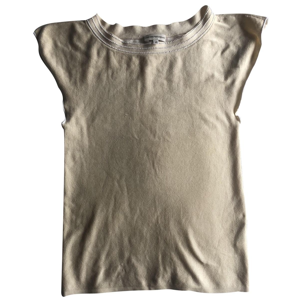 Emporio Armani - Top   pour femme en soie - beige