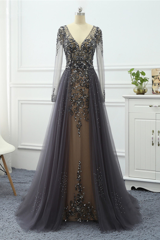 BMbridal Elegant V-Neck Long Sleeves Appliques Beadings Prom Dresses with Overskirt