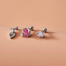 3pcs Star & Heart Decor Double Stud Earrings