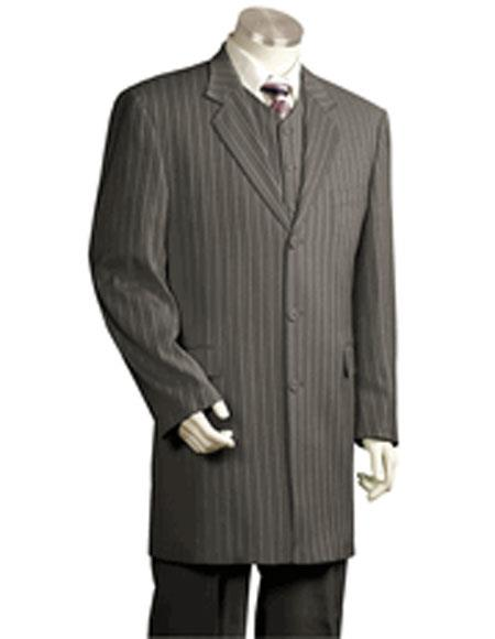 Mens Single Breasted Grey Striped Notch Lapel 3 Piece Fashion Suit