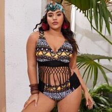 Plus Aztec Print Woven Fringe Hem Bikini Swimsuit