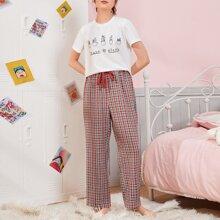 Schlafanzug Set mit Buchstaben Grafik, Knoten auf Taille und Karo Muster