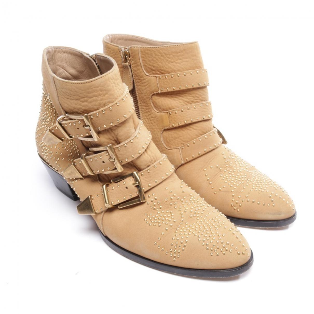Chloe - Boots Susanna pour femme en cuir - beige