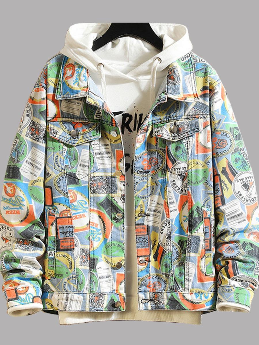 LW lovely Street Turndown Collar Graffiti Print Multicolor Men Denim Jacket