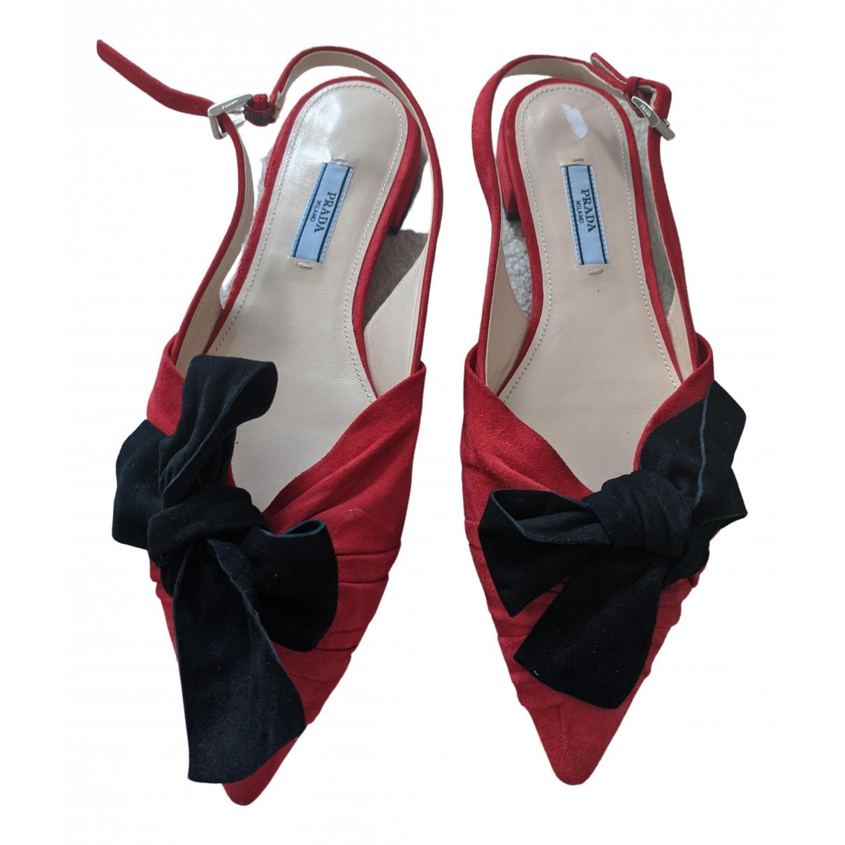 Prada \N Red Suede Sandals for Women 38 EU