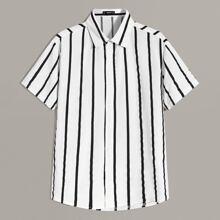 Men Striped Short Sleeve Shirt