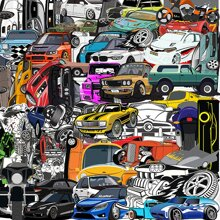61pcs Car Print Sticker