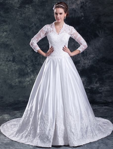 Milanoo White A-line V-Neck Beading Lace Bridal Wedding Gown