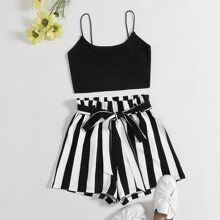 Plus Solid Cami Top & Paperbag Waist Striped Shorts Set