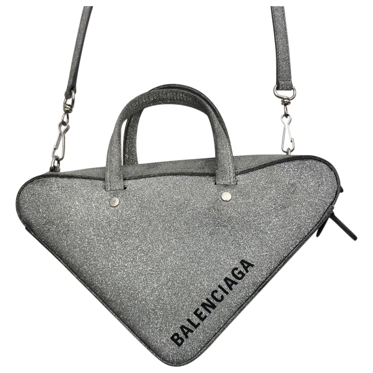 Balenciaga - Sac a main Triangle pour femme en cuir - argente