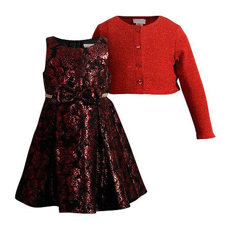Young Land Toddler Girls Sleeveless Midi Dress Set, 2t , Red