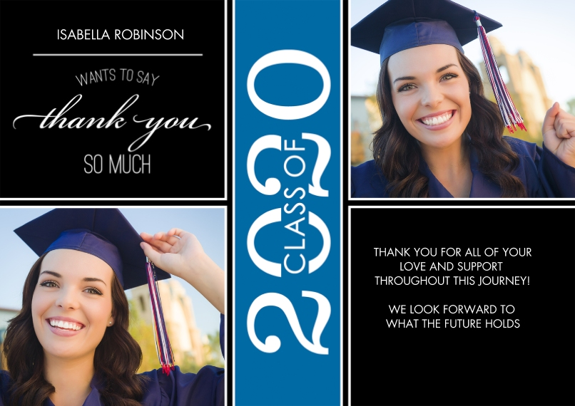 Graduation Thank You Cards 5x7 Cards, Premium Cardstock 120lb with Scalloped Corners, Card & Stationery -Grad Thank You 2020 Class of by Tumbalina