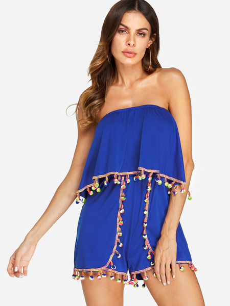 Yoins Blue Backless Design Plain Off The Shoulder Sleeveless Playsuits