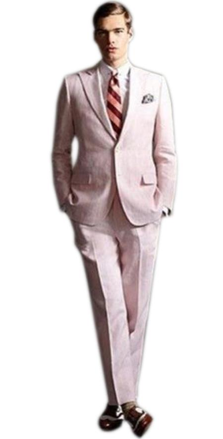 Mens high fashion Two Buttons Single Breasted Pink suit