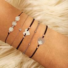 Shell & Heart Bracelet Set 5pcs