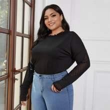 Camisetas de Tallas grandes Malla en contraste Liso Casual