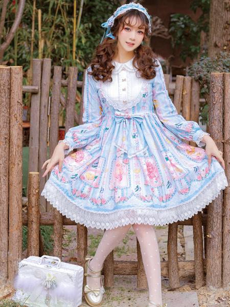Milanoo Sweet Lolita OP Dress Blueberry Print BowsLace Long Sleeves Lolita One Piece Dresses