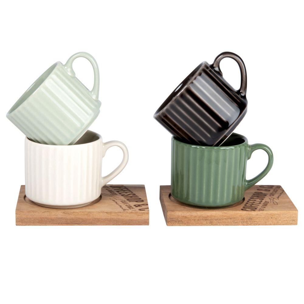 Set mit 4 Tassen aus Fayence, gruen, cremefarben und grau, Untertassen aus Robinienholz
